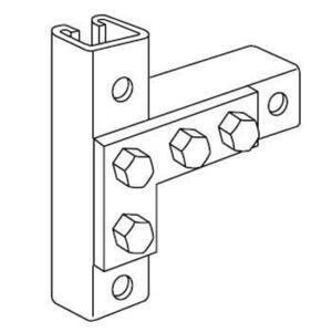"Kindorf B-936 Flat Angle Plate Connector, 4 Holes, Bolt Hole: 9/16"", Steel/Galvanized"