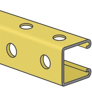 "Kindorf B-995-10 Channel - Bolt Holes/Back & Side, Steel, Gold, 1-1/2"" x 1-1/2"" x 10'"