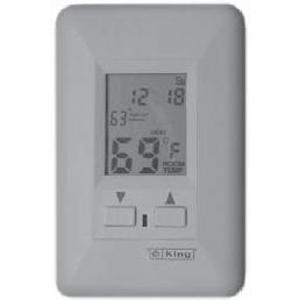 King Electrical ESP230-R Thermostat, Programmable, Single Pole, 22A, 240V, Wall Mount