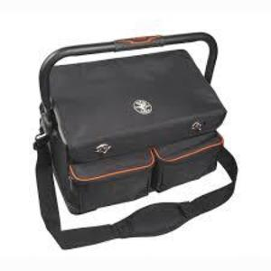 """Klein 55432 Tool Tote With Cover, Length: 19.75"""", Height: 13"""", 17 Pockets, Black"""