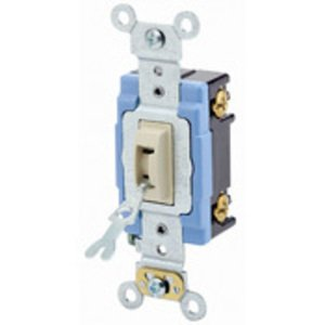Leviton 1201-2IL Single-Pole Locking Switch, 15A, 120/277V, Ivory, Industrial Grade