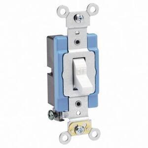 Leviton 1201-2W Single-Pole Toggle Switch, 15A, 120/277V, White, Industrial Grade