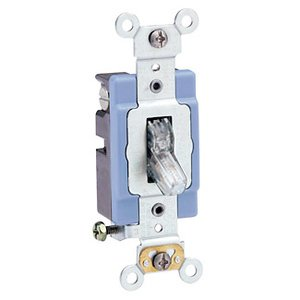 Leviton 1201-PLC Single-Pole Pilot Light Toggle Switch, 15A, 120V, Clear, LIT WHEN ON