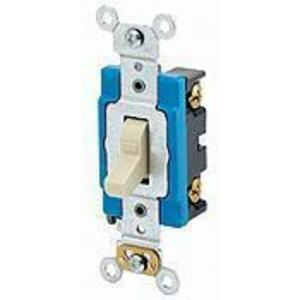 Leviton 1203-LHI 3-Way Lighted Handle Toggle Switch, 15A, 120V, Ivory, LIT WHEN OFF