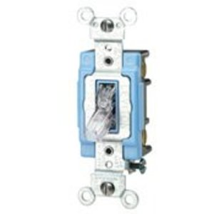 Leviton 1203-PLC 3-Way Pilot Light Toggle Switch, 15A, 120V, Clear, LIT WHEN ON