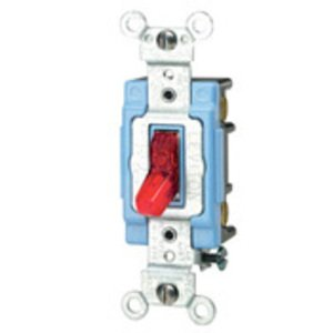 Leviton 1203-PLR 3-Way Pilot Light Toggle Switch, 15A, 120V, Red, LIT WHEN ON