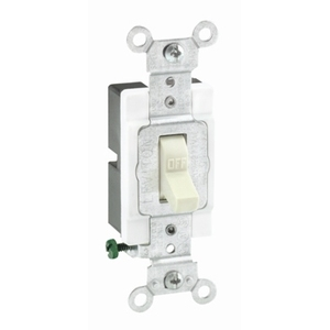 Leviton 1221-SW Heavy Duty Single-Pole Toggle Switch, 20A, 120/277V, White, Industrial