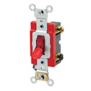 Leviton 1222-7PR Double-Pole Pilot Light Toggle Switch, 20A, 277V, Red, LIT WHEN ON