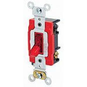 Leviton 1222-PLR Double-Pole Pilot Light Toggle Switch, 20A,120V, Red, LIT WHEN ON