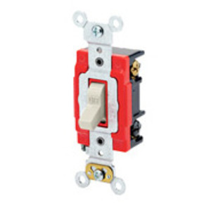 Leviton 1223-2T 3-Way Toggle Switch, 20A, 120/277V, Light Almond, Industrial Grade