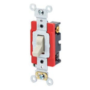 Leviton 1224-2T 4-Way Toggle Switch, 20A, 120/277V, Light Almond, Industrial Grade