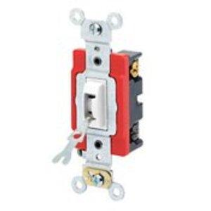 Leviton 1224-2WL 4-Way Locking Toggle Switch, 20A, 120/277V, White, Industrial Grade