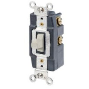 Leviton 1285-T Maintained Toggle Switch, 1P, Double Throw, Center OFF, 20A, Light Almond