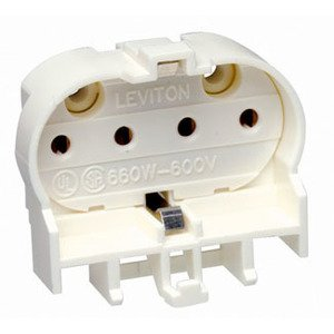 Leviton 13454 Fluorescent Lampholder, Horizontal, White