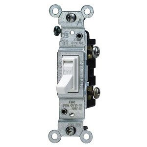 Leviton 1451-WCP Single-Pole Switch, 15A, 120VAC, White, Residential Grade, Less Ears
