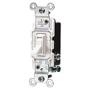 Leviton 1453-2W 3-Way Toggle Switch, 15A, 120VAC, White, Residential Grade