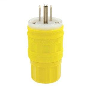 Leviton 14W47 15 Amp Watertight Plug, 125V, 5-15P, Rubber, Yellow, Grounding