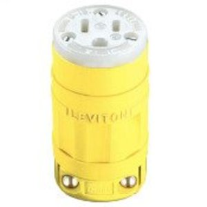 Leviton 1547 15 Amp Connector, 125 Volt, 5-15R, Dust-tight, Yellow