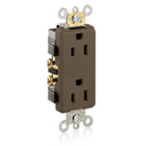 Leviton 16252 15 Amp Duplex Receptacle, 125V, 5-15R, Brown, Back/Side Wired