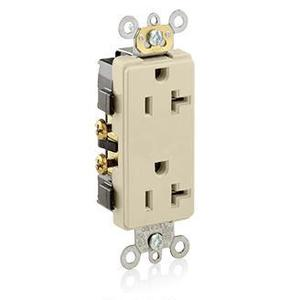 Leviton 16342-I 20A Decora Duplex Receptacle, 125V, 5-20R, Ivory, Side Wired, Spec