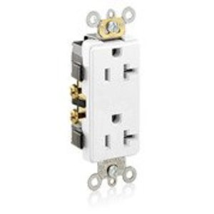 Leviton 16342-W 20A Decora Duplex Receptacle, 125V, 5-20R, White, Side Wired, Spec