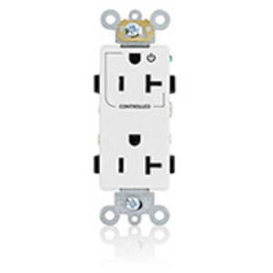 Leviton 16352-1PW 20A Decora Duplex Receptacle, 125V, 5-20R, White, Back and Side Wired, 1P Controlled