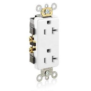 Leviton 16352-W 20A Decora Duplex Receptacle, 125V, 5-20R, White, Side Wired, Hvy Duty