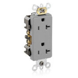 Leviton 16362-GY Decora Duplex Receptacle, 20A, 125V, Gray, Heavy Duty, Back/Side Wired, Limited Quantities Available