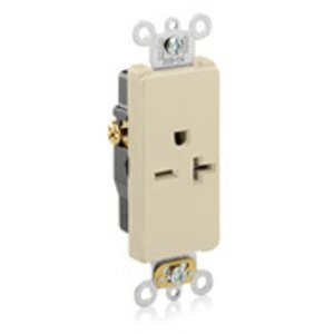 Leviton 16441-I 20 Amp Decora Single Receptacle, 250V, 6-20R, Ivory, Side Wired