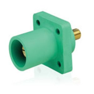 Leviton 16R23-UG Male Panel Receptacle, 90 Degree, Threaded Stud, Cam-Type, Green