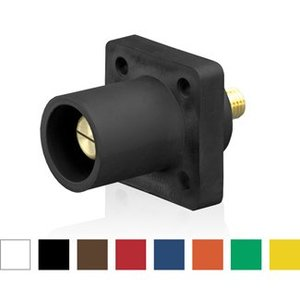 Leviton 16R23-UH Male Panel Receptacle, 90 Degree, Threaded Stud, Cam-Type, Brown