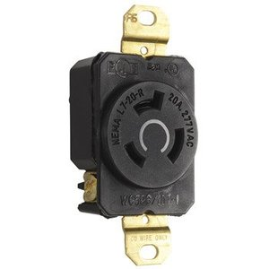 Leviton 2330 Locking Single Receptacle, 20A, 277V, 2P3W
