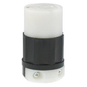 Leviton 2363 Locking Connector, 20A, 125/250V, NEMA L10-20R, Black/White