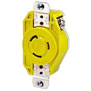 Leviton 23CM-10 Locking Receptacle, Corrosion Resistant, 20A, 125V, Yellow