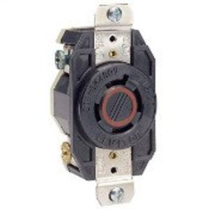 Leviton 2430 Locking Single Receptacle, 20A, 3PH 480V, 3P4W