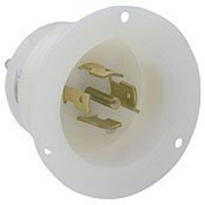 Leviton 2515 Locking Flanged Inlet, 20A, 120/208V, 3-Phase Y, L21-20P, White