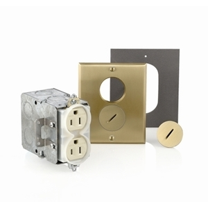 Leviton 25249-TFB Floor Box Assembly, Includes Duplex Receptacle, Brass Floor Plate
