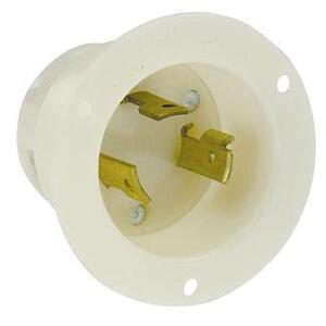 Leviton 2645 Locking Flanged Inlet, 30A, 480V, L8-30P, 2P3W, White