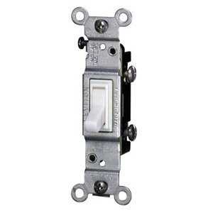 Leviton 2651-2W Single-Pole Toggle Switch, 15A, 120VAC, White, Residential, CO/ALR