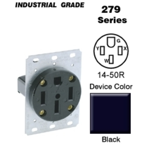 Leviton 279-S00 50 Amp Flush Mount Receptacle, 125/250V, 14-50R, 3P4W, Grounding