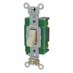 Leviton 3031-2I Single-Pole Toggle Switch, 30A, 120/277V, Ivory, Specification Grade