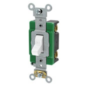 Leviton 3031-2W Single-Pole Toggle Switch, 30A, 120/277V, White, Specification Grade