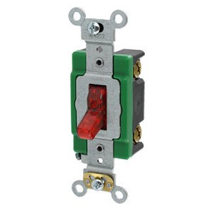 Leviton 3031-PLR Single-Pole Pilot Light Toggle Switch, 30A, 277V, Red, LIT WHEN ON