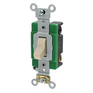 Leviton 3032-2I Double-Pole Toggle Switch, 30A, 120/277V, Ivory, Specification Grade