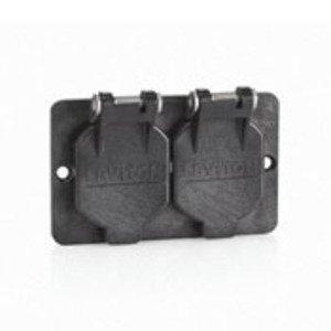 Leviton 3056-E Duplex Cover w/ Flip Lid, Black