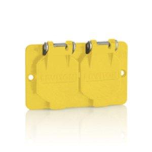 Leviton 3056-Y Duplex Cover w/ Flip Lid, Yellow
