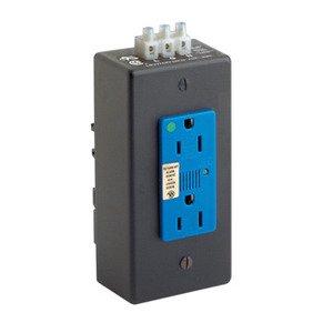 Leviton 3880-DIN Receptacle, 15 Amp, 125 Volt, Mountable NEMA 5-15R, Surge, Blue