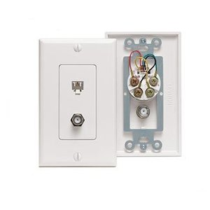 Leviton 40159-W Wall Plate & Connector, F Coaxial and Telephone Jack, Decora, White