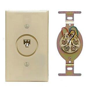 Leviton 40201-I Wallplate, Telephone Jack, 625b Wiring, Round Insert, 6P4C, Ivory