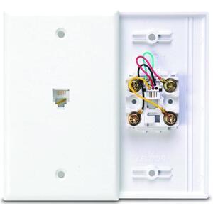 Leviton 40249-W Telephone Jack Wallplate, 1-Gang, Plastic, White